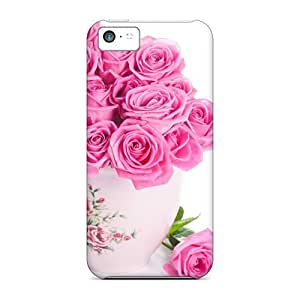 Hot Tpu Cover Case For Iphone/ 5c Case Cover Skin - Nature Flowers Pink Roses 03