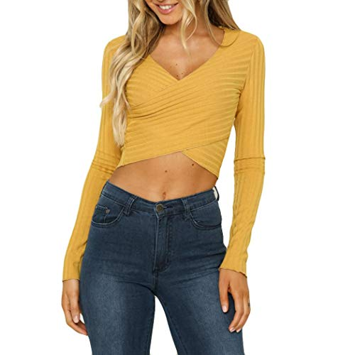 - Clearance! Crop Tops for Teen Girls, Jiayit Women Casual Knit V Neck Shirt Long Sleeve Wrap Front Sweatshirt Cropped Tops Blouse (L, Yellow)