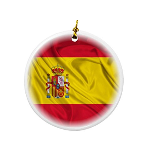 Rikki Knight Spain Flag Design Round Porcelain Two-Sided Christmas Ornaments by Rikki Knight