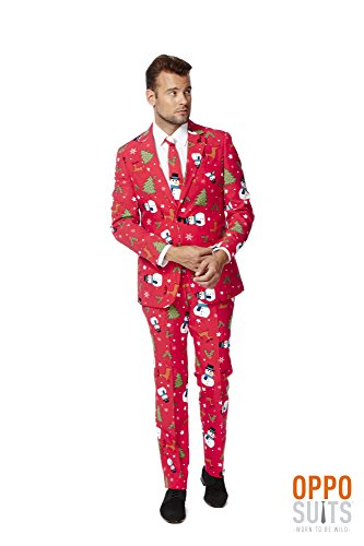 OppoSuits Men's Christmaster Party Costume Suit, Red/White/Green, 50 by Opposuits