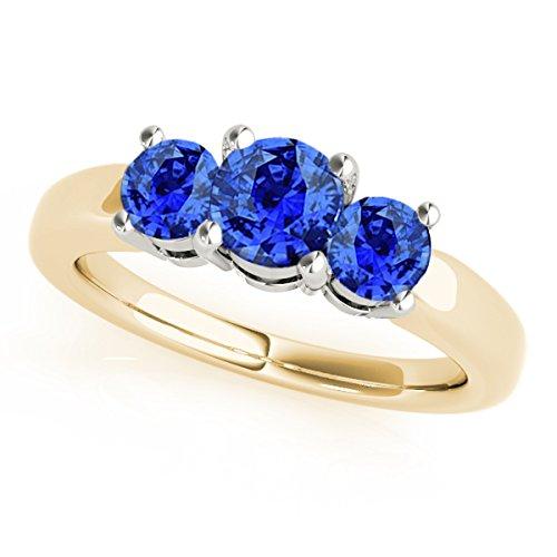 MauliJewels 1 Ct. Ttw 3 Stone Two-Tone Tanzanite Ring in 14K Yellow & White Gold - Tanzanite Two Ring Tone