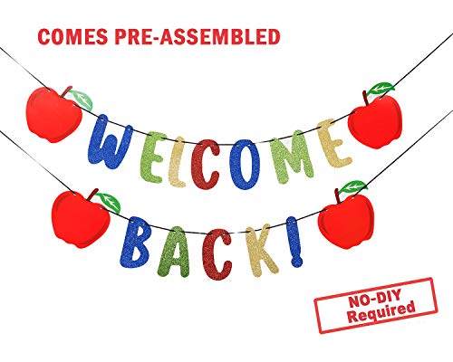 Welcome Back Kids Back to School Theme Party Apple Garland Banner First Day New Grade of Class Pennant Ideas Photo Props Decoration