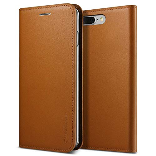 iPhone 7 Plus / 8 Plus Case, VRS Design [Genuine Leather Diary Series] Premium Genuine Leather Wallet with Card Slots for Apple - Brown ()