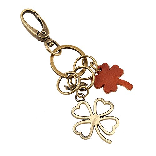 Creative giraffe key ring keychain men and women small gift alloy lovely giraffe retro woven key chain (Four Leaf Clover) Woven Leaf Ring