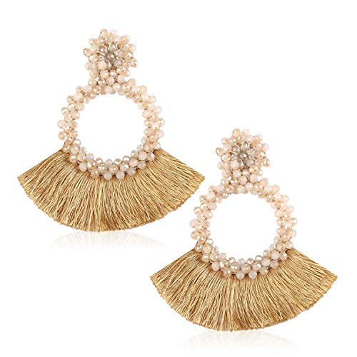 Statement Beaded Hoop Tassel Earrings, Drop Dangle Round Earrings Bohemian for Women Girl Novelty Fashion Summer Accessories - VE130 Beige ()