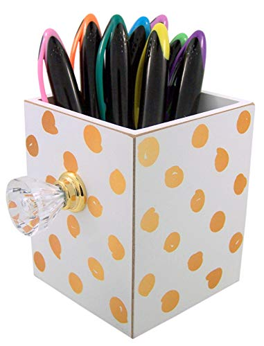 White and Gold Polka Dot Gem Knob Pen and Pencil Holder, 3 5/8 Inch