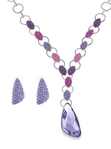 Alilang Cute Tanzanite Swarovski Crystal Element Single Jeweled Earring Necklace Set