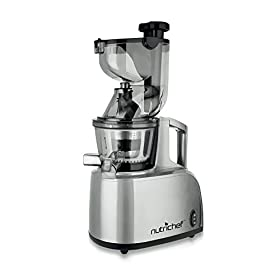 Upgraded NutriChef Masticating Juicer Extractor, Countertop Cold Press Juicer, Quiet Motor, with Juice Container and Cleaning Brush, Healthy Snack Fruit Vegetable Juice, Baby Food, Stain Resistant