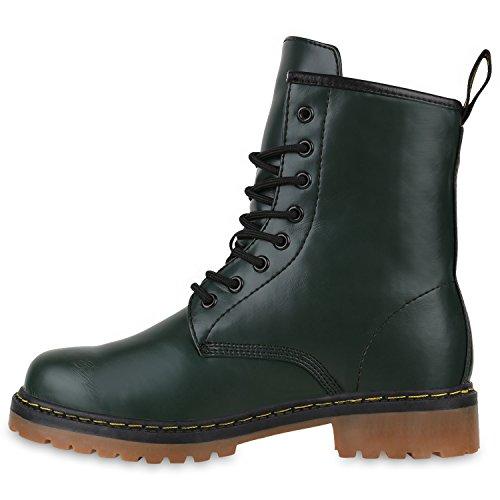 Stiefelparadies Unisex Damen Herren Stiefeletten Worker Boots Profilsohle Flandell Dunkelgrün