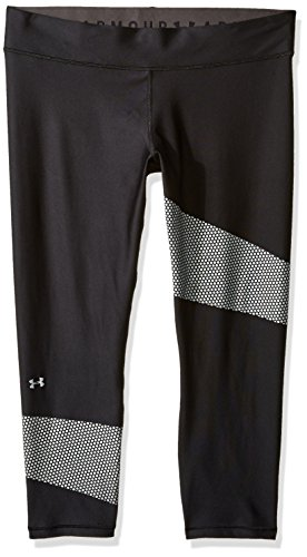 Under Armour Women's HeatGear Armour Graphic Ankle Crop, Black /Metallic Silver, Small