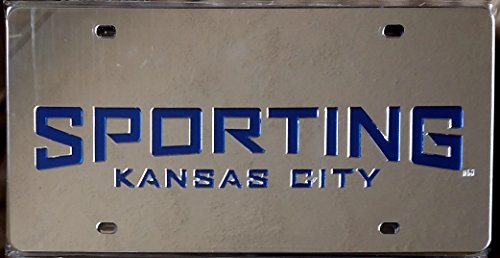 Laser Laid (Sporting Kansas City Deluxe Silver Laser Cut Etch In-Laid License Plate Tag MLS Soccer)