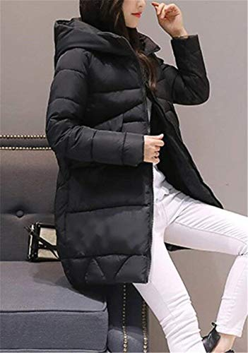 Cappuccio Winterparka Trendy Outdoor Ladies Addensare Warm Sleeve Saoye Giacca Winter Casual Long Coat Fashion Down Clothes Schwarz Elegante Con 5OZwq4