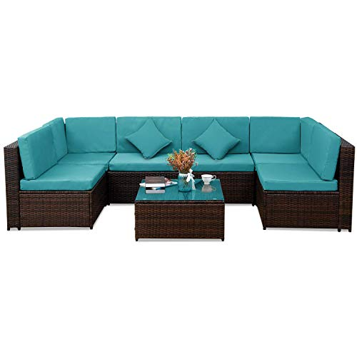 MIERES Patio PE Rattan Sectional Garden Furniture Corner Sofa Set (7 Pieces, Blue), Light (Sets Sofa Furniture Garden Rattan)