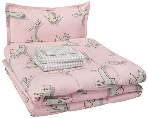 - AmazonBasics Easy-Wash Microfiber Kid's Bed-in-a-Bag Bedding Set - Twin, Pink Cats