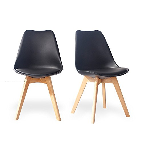 Eames Style Chairs , Eames Dining Chairs by Santang eames style chair set of 2 black Comfortable Dining Chairs with Natural Wood Legs and Soft Padded Seat Arm Chair (Back Chair Arm Curved Dining)