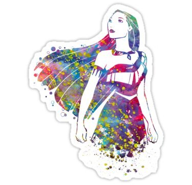 (Princess Pocahontas Watercolor (Size W11 x H4.2 Centimeter) Car Motorcycle Bicycle Skateboard Laptop Luggage Vinyl Sticker Graffiti Decal Bumper Sticker By August999)