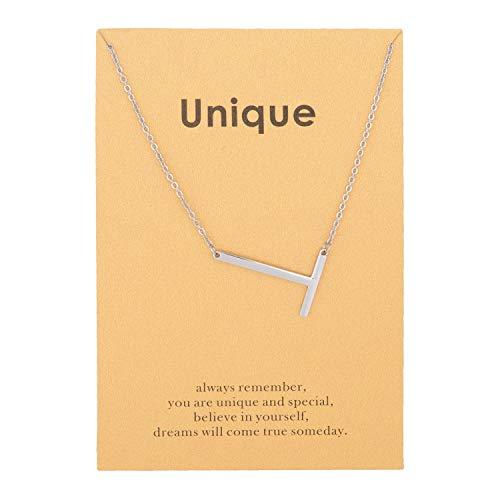 Zealmer Script Initial Necklace Titanium Steel Letters Necklace Pendant T Silver Color Metal Chain