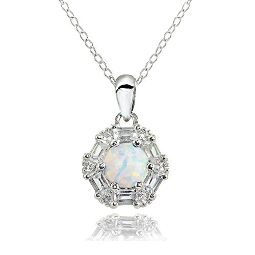 Sterling Silver Simulated White Opal and White Topaz Baguette & Round-Cut Fashion Necklace (Opal Jewelry Birthstone)
