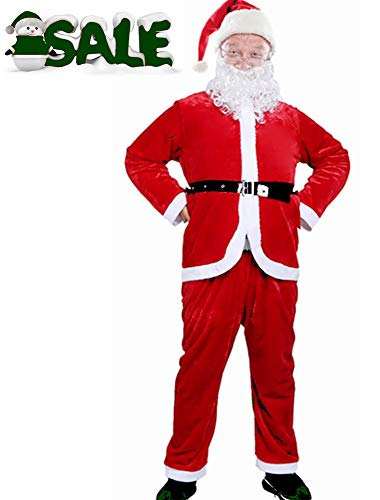 Men Santa Claus Costume Adult Christmas Outfit Father Christmas Suit Xmas Costume Set (Red)