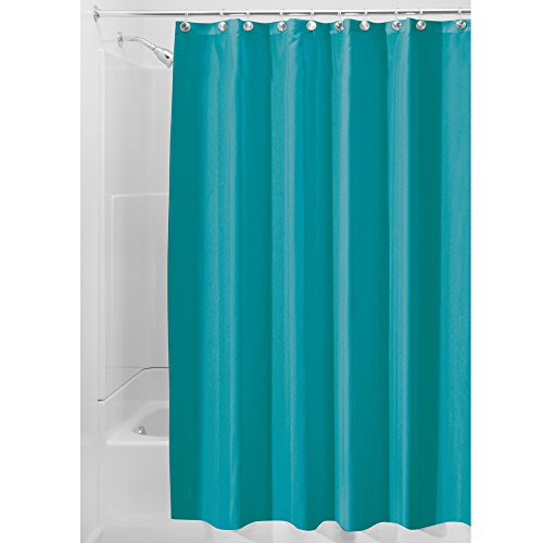 InterDesign Mildew-Free Water-Repellent Fabric Shower Curtain, 72-Inch by 72-Inch, Teal