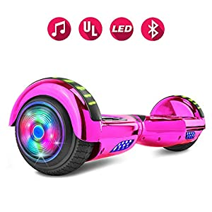 Spider Wheels Series Hoverboard UL2272 Certified Hover Board Electric Scooter with Built in Speaker Smart Self Balancing Wheels (_Chrome Pink)