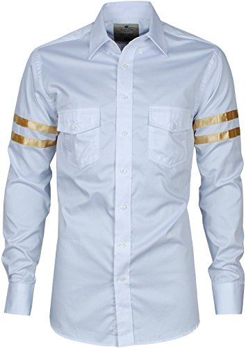 Angel Cola Men's Gold Varsity Striped Casual Button Down Shirt White S