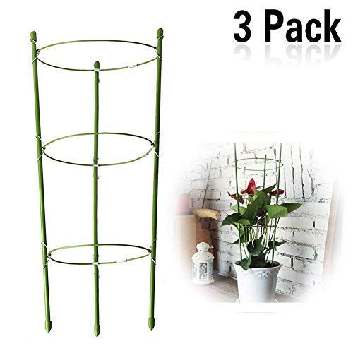 Yojoloin 3 Pack Garden Plant Support Ring Garden Trellis Flower Plastic Pillar with 3 Iron Support Climbing Vegtables&Flowers&Fruit Grow Cage with 3 Adjustable Rings 17.8(3PCS)