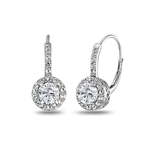 Sterling Silver Created White Sapphire Round Dainty Halo Leverback Earrings ()