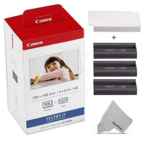 - Canon KP-108IN / KP108 Color Ink Paper Includes 108 Ink Paper Sheets + Ink Toners for Canon Selphy CP1300, Selphy CP1200, Selphy CP910, Selphy CP900, cp770 and cp760 + HeroFiber Gentle Cleaning Cloth
