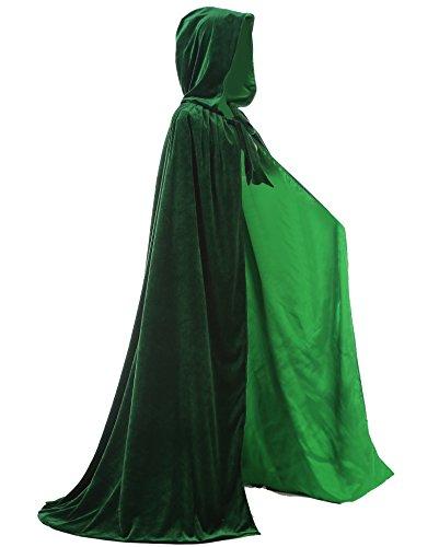 Dark Link Cosplay Costumes (LuckyMjmy Velvet Renaissance Medieval Wedding Cloak Cape Lined with Satin (Plus, Dark Green))