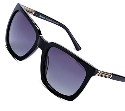 BRUWEN Oversized Sunglasses for Women Polarized Uv Protection, Designer Sunglasses for Women, Black Vintage large Square Stylish Womens -
