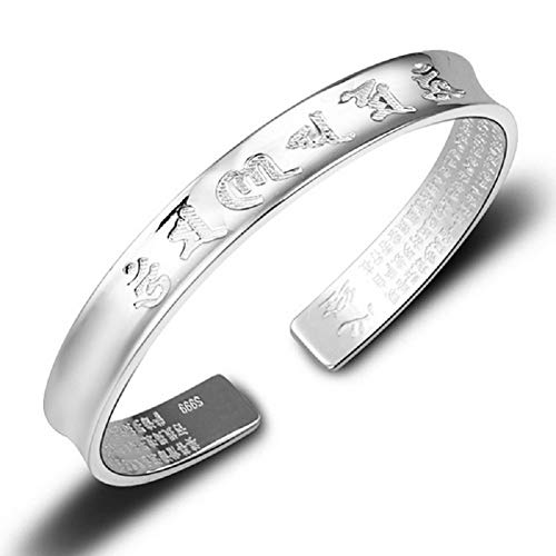DUANMEINAD Fashion Open Bracelet With Chinese Word Bangle Buddhist Heart Sutra For Man & Women Cuff Bangle (Silver) ()