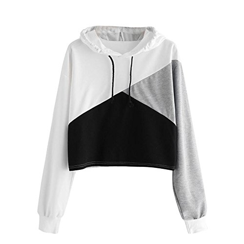 Clearance Women Fashion Hoodie Jumper Patchwork Slogan Printed Sweatshirt Hooded Pullover ()