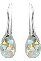 Sterling Silver Made with Swarovski Crystals Blue Aurora Borealis Drop Pierced Earrings