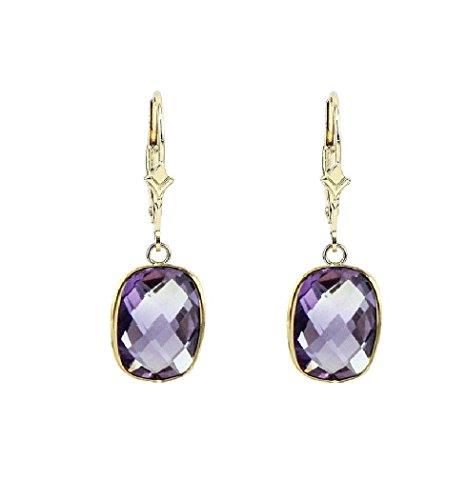14K Yellow Gold Dangle Earrings With Cushion Cut Purple Amethyst Gemstones ()