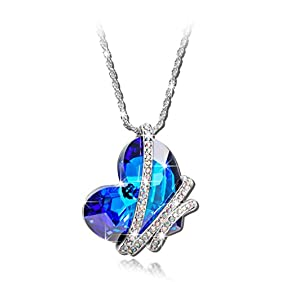 Qianse Heart of the Ocean Swarovski Crystal Pendant Necklace
