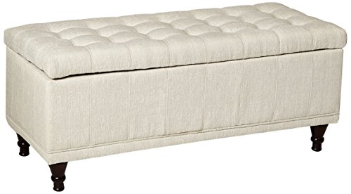 Homelegance 4730NF Lift Top Storage Bench with Tufted Accents, Beige Fabric - Padded Storage Bench