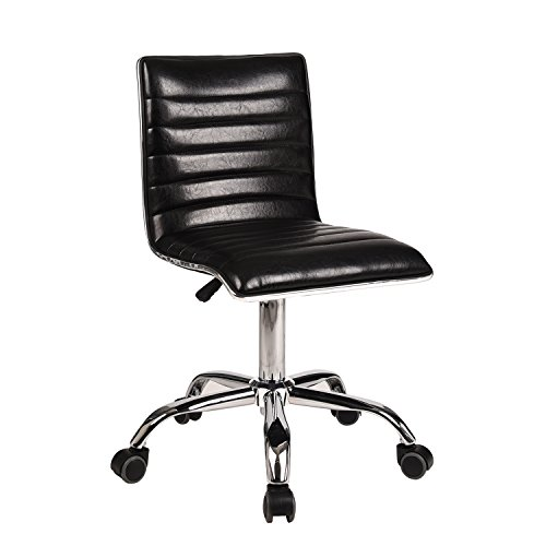 Swivel Mid Back Armless Ribbed Designer Task Chair Leather Soft Upholstery Office Chair (Black1)
