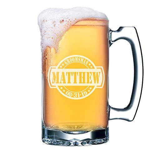 Engraved Personalized Beer Mug - Custom Groomsmen Beer Glasses Gifts - 16 oz - The General Design