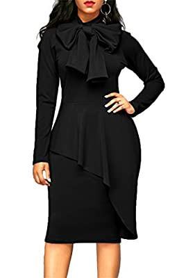 ONLYSHE Womens Tie Neck Long Sleeve Pencil Formal Solid Color Bodycon Dress