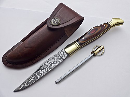 Poshland Knives FNH-007, Custom Handmade Damascus Steel 08.50 Inches Folding Knife - Gorgeous Doller Sheet Handle with Brass Bolsters