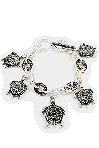 Silver Myrtle Turtle Filigree Marcasite Charm Bracelet ... (Marcasite Filigree Bracelet)