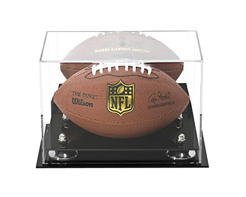 (Deluxe Acrylic Mini - Miniature (not Full Size) Football Display Case Silver Risers Mirror (A005-SR))