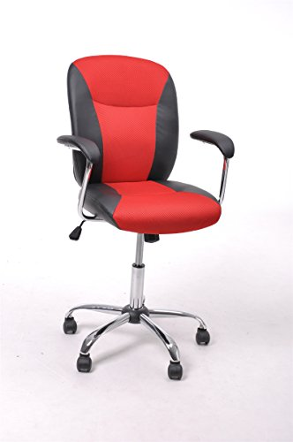 GreenForest® Mid-Back Leather Task and Computer Chair with Chrome Base, Red