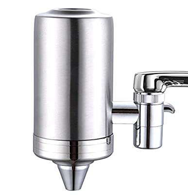 ESOW Faucet Mount Water Filter, SUS 304 Stainless Steel Reduce Chlorine, Lead, BPA Free, Water Purifier with 7-Layer ACF Filtration System, Tap Water Purifier Filtration System Fits Standard Faucets