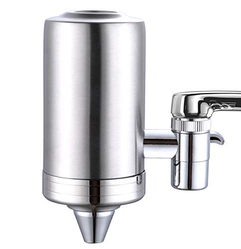 ESOW Faucet Mount Water Filter, SUS304 Stainless Steel Reduce Chlorine,Lead,BPA Free, Water Purifier with 7-Layer UF + ACF Filtration System, Tap Water Purifier Filtration System Fits Standard Faucets
