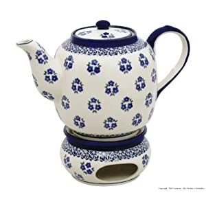 Boleslawiec Pottery Teapot 1.5 L with Warmer, Original Bunzlauer Keramik, Decor 224a