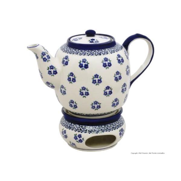 Boleslawiec Pottery Teapot 1.5 L with Warmer, Original Bunzlauer Keramik, Decor 224a