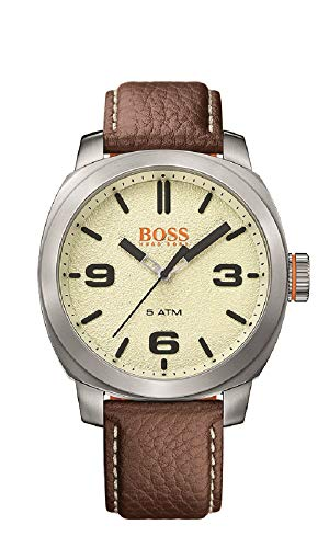 (HUGO BOSS Men's Cape Town Stainless Steel Quartz Watch with Leather Calfskin Strap, Brown, 22 (Model: 1513411)
