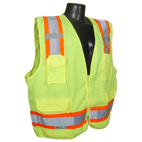 Radians SV62-2ZGT-3X Class 2 Two Tone Surveyor Safety Vests, Solid Twill Green, 3 Extra Large by Radians by Radians